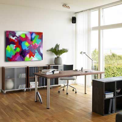 Malerier med firmaværdier. vis firmaets budskab gennem kunstværker